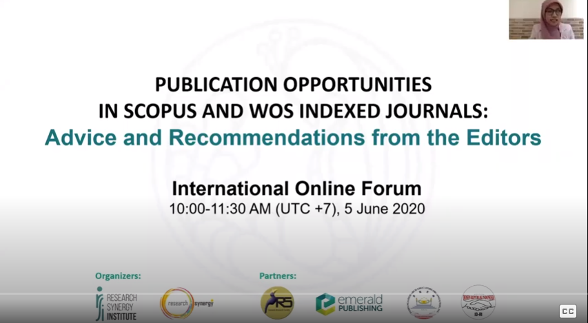 Publication Opportunities in Scopus and WOS Indexed Journals:  Advice and Recommendations from the Editors